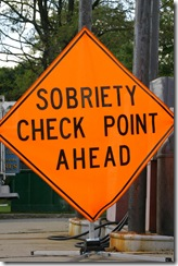 Sobriety checkpoint ahead road sign